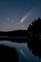 Comet Neowise and firefly, at Audie Lake, WI