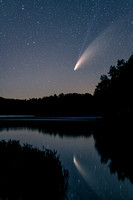 Comet Neowise with reflection, at Audie Lake, WI 1