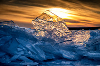 Stacked ice at sunset