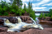 Gooseberry Falls, Upper Falls with bridge on Hwy 61