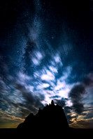 Moonlit clouds and Milky Way